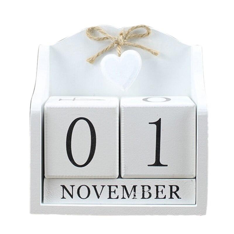 2019 créatif bricolage bois bloc perpétuel calendrier bureau Figurines calendrier bois calendrier mode maison bureau décoration cadeau-Whit