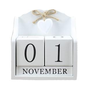 Image 1 - 2019 Creative Diy Wood Block Perpetual Calendar Desk Figurines Calendar Wood Calendar Fashion Home Office Decoration Gift Whit