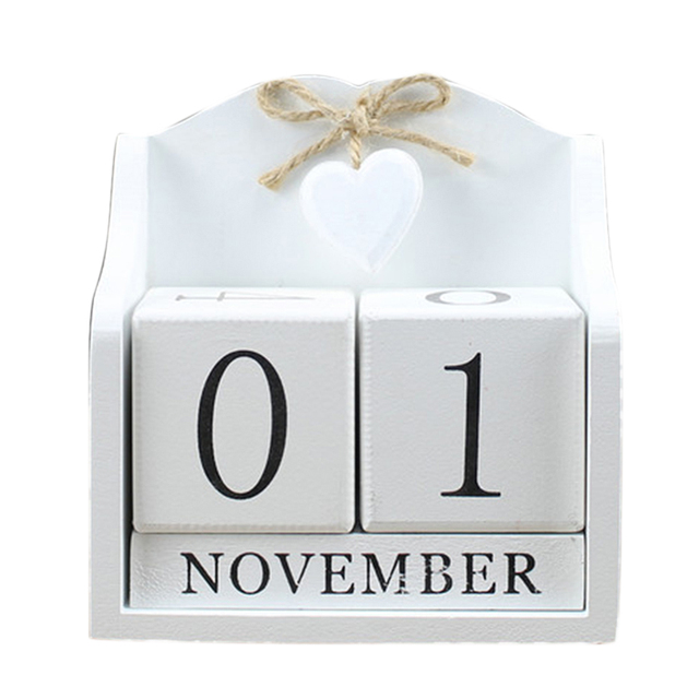 2019 Creative Diy Wood Block Perpetual Calendar Desk Figurines Calendar Wood Calendar Fashion Home Office Decoration Gift Whit