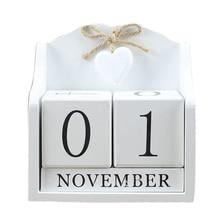 2019 criativo diy bloco de madeira calendário perpétuo estatuetas de mesa calendário de madeira calendário de moda decoração de escritório em casa presente whit