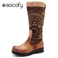 Socofy Retro Bohemian Women Boots Sheep Leather Splicing Cowgirl Western Mid calf Boots Women Shoes Woman Back Lace up Botas New