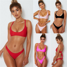 Sexy Solid Bikinis Set 2019 Women Swimsuit Push Up Bikini Red Pink Black Bathing Suits Brazilian Girls Swim Beach Suit Wholesale