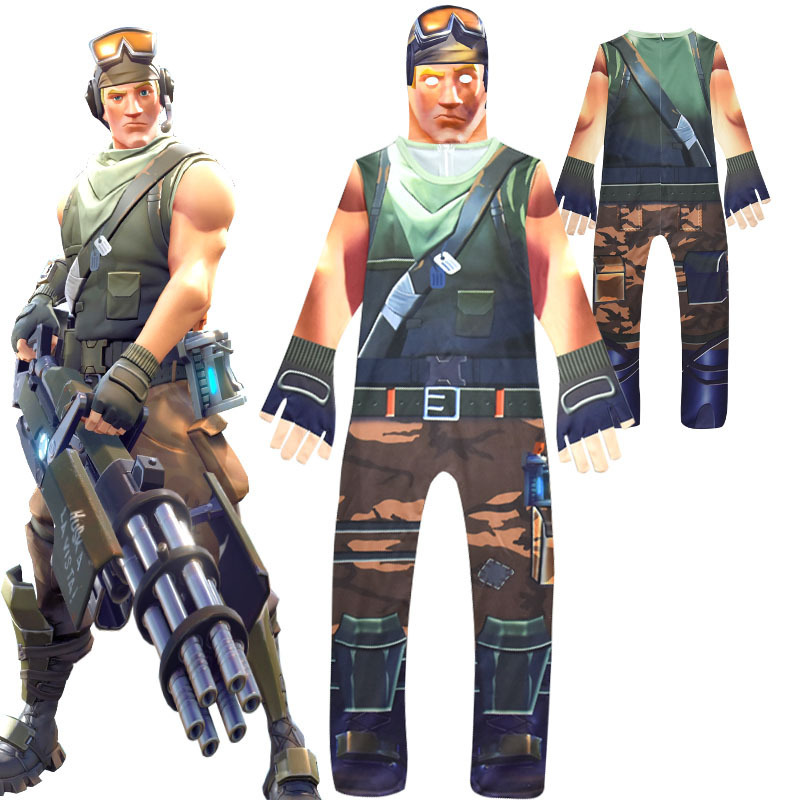 Game Battle Royale Kids Cosplay Jumpsuits Mask Streetwear Costume Boys Halloween Masquerade Carnival Party FortniteD Bodysuit