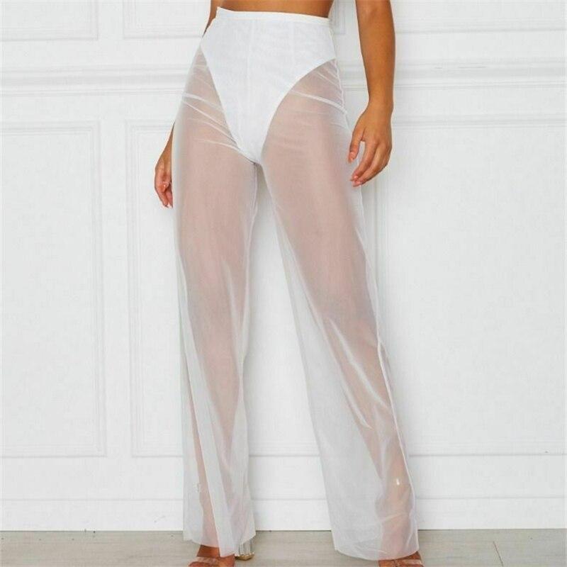 Womens Summer Beach Mesh Sheer See Through   Pants   Vogue High Waist Transparent   Wide     Leg     Pants   Clubwear Holiday Beach Trousers