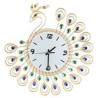 2 Style Luxury Large Wall Clocks Antique Diamond Peacock Wall Clocks Living Room Creative Wall Clock Unique Gift Home Decor