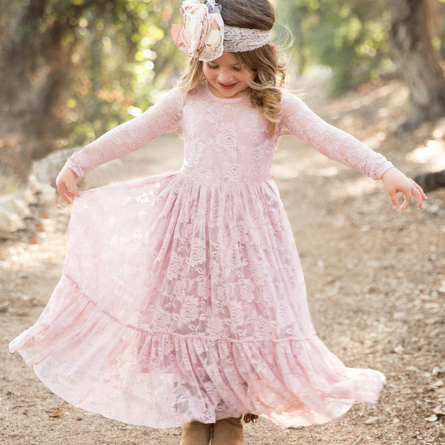 Stunning Lace Flower Girl Dresses Boho Rustic First Communion Kids Wedding Party Prom Gown Cute Dresses for Little Girls