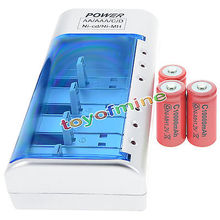 3x C размер 10000 мАч 1,2 в красный аккумуляторная батарея + AA AAA 9 в C D зарядное устройство