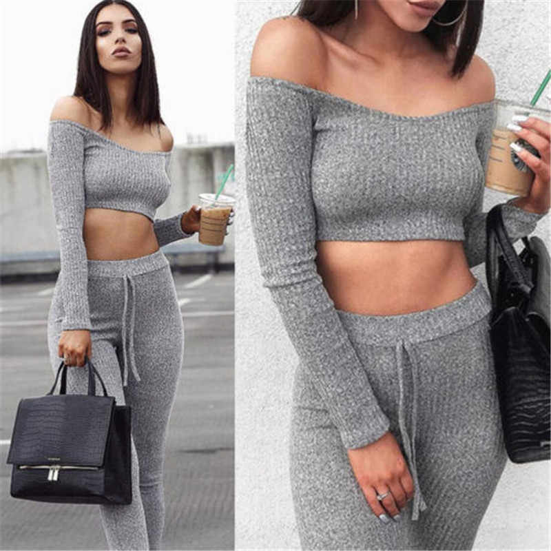 9c5a30a621a 2019 Women 2 Piece Clothes Set Solid Gray Sport Suit Gym Workout Long Sleeve  Fitness Crop