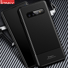 for Samsung S10 Case IPAKY S10e Carbon Fiber Skin Hybrid Silicone Protective Soft Cover Galaxy Plus