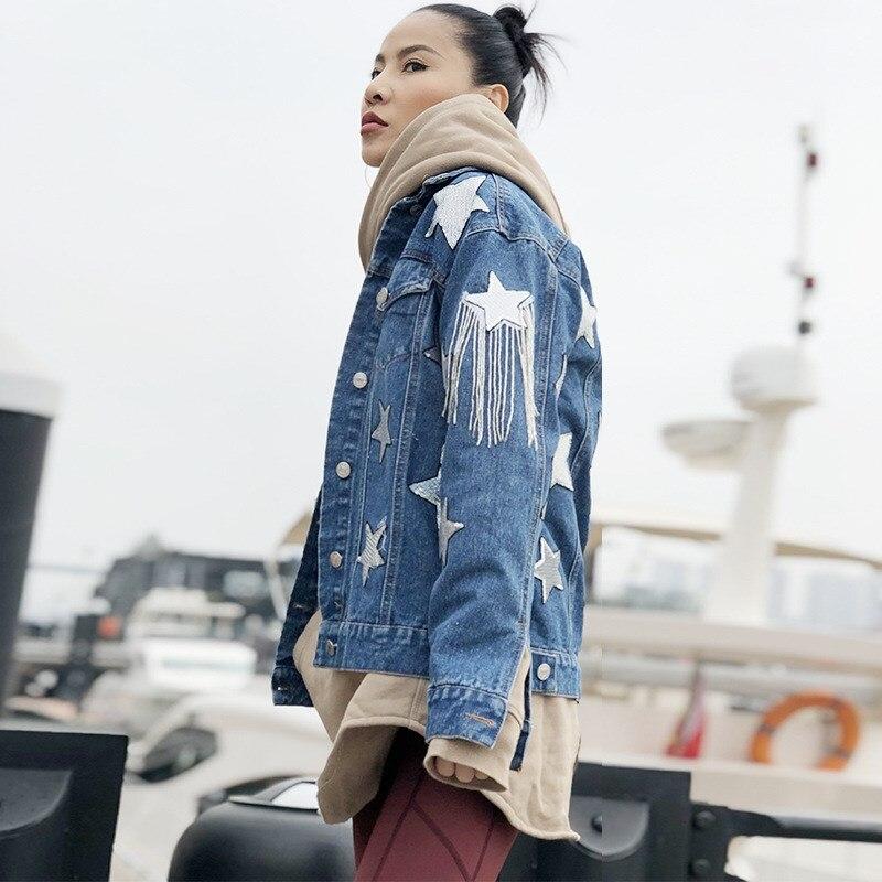 Lunghe Fashion Blu Spring Maniche Rappezzatura New Della Star Delle Modello Denim Donne Giubbotti Cappotti Nappa S6tx5w5q