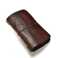 Vintage Style string Closure Women's Long Green Wallet Genuine Leather Female Card Wallet Natural Cowhide Lady Gift Clutch Purse