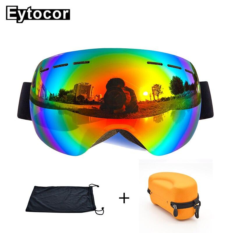 EYTOCOR Top Vente UV400 cagoule Lunettes avec Magnétique Rapide-changement 2 dans 1 Lentille Anti-brouillard Ski Motoneige lunettes masque anti neige - 4