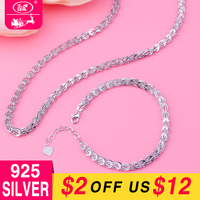 WK 925 Sterling Silver Bracelet Necklace Chain Silver 925 Set NEW 2018 Jewellery Wedding Jewelry Sets For Women Bride Gift W6