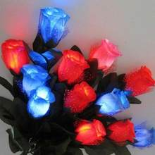 1 pcs LED Light Up Rose Flower Birthday Party Supplies Wedding Decoration Valentines Mothers Day Halloween Fake Flower(China)