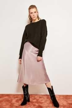 Trendyol Mink Mustard Silk Satin High-waist Women Knee-length Skirt Chic Style TOFSS19WX0013 1
