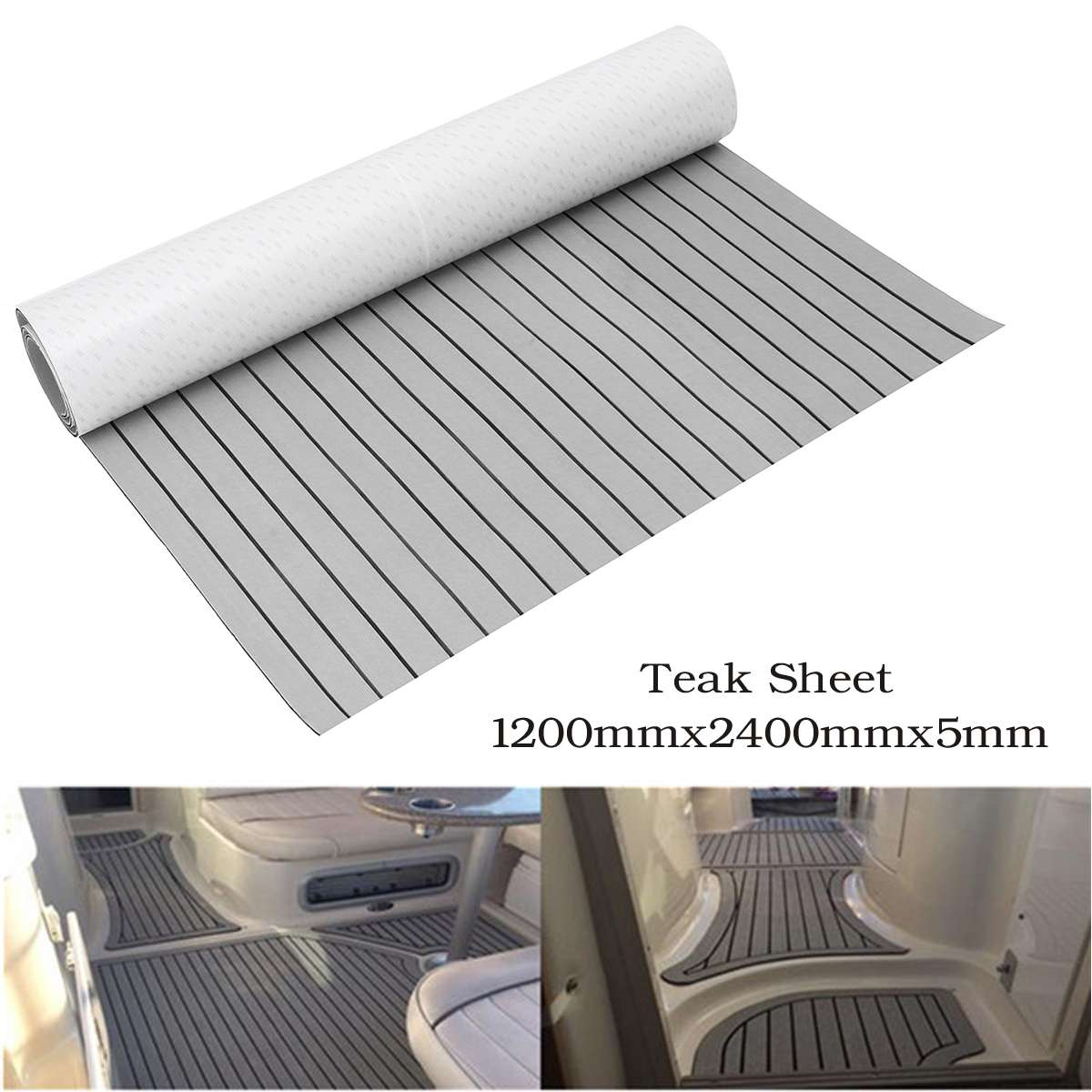 1200mmx2400mm Self Adhesive EVA Foam Teak Sheet Teak Boat Decking Car Boat Yacht Synthetic Teak Flooring Floor Mat Pad Grey 5mm