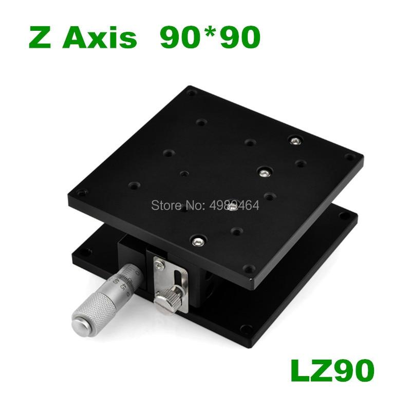 Gratis Verzending Z Axis 90*90mm Lz90 Verplaatsing Lift Stage Manual Fine Tuning Platform Cross Rail Sliding Tafel 90*90mm Z90