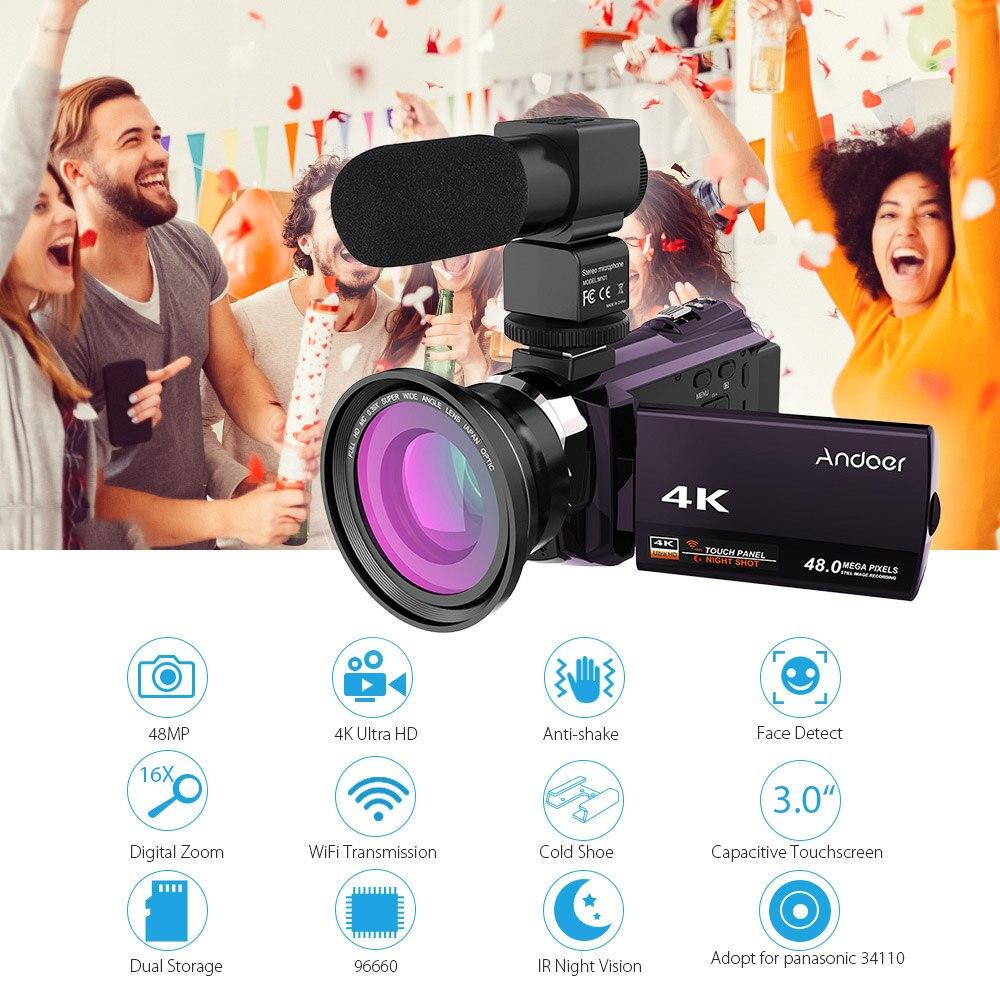 Andoer 4K caméscope 1080P 48MP WiFi caméra vidéo numérique IR vision nocturne 16X Zoom numérique avec objectif Macro grand Angle 0.39X-in Caméscopes grand public from Electronique    1