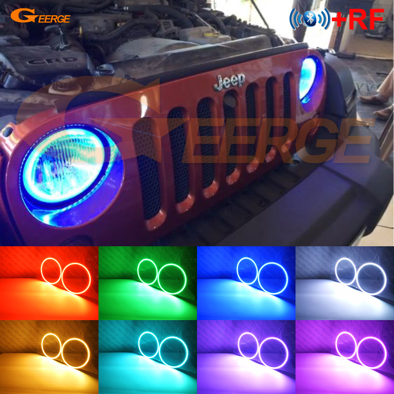 "Para Jeep Wrangler CJ TJ JK 7 ""Linterna frontal Excelente RF Controlador Bluetooth Multicolor Ultra brillante RGB LED Angel Eyes kit"
