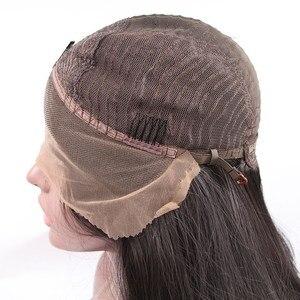 Image 4 - Bombshell Natürliche Dichte Schwarz Lange Gerade Synthetische Spitze Front Perücken Glueless Hitze Beständig Faser Haar Mittleren Teil Für Frauen