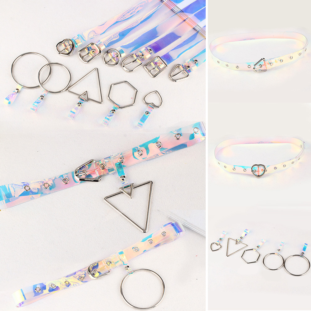 1PC New Transparent Laser Holographic Women Belt Punk Clear Color Buckle Wide Waist Circle Waistband Wedding Dress Accessories