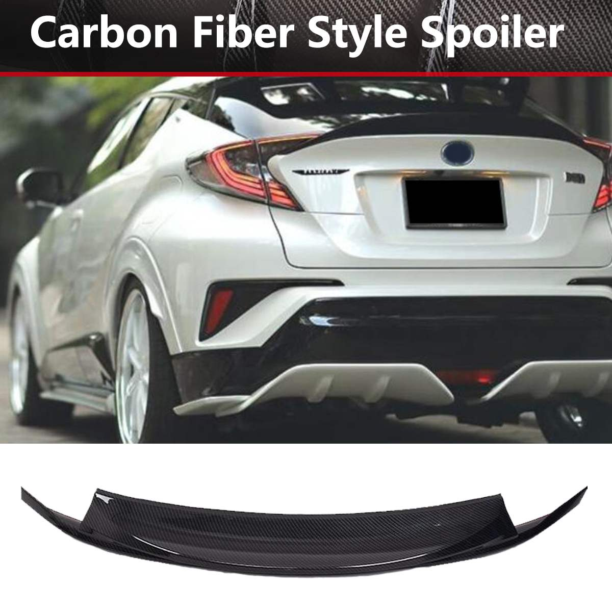 ABS Plastic Carbon Fiber Look Rear Trunk  Wing Tail Spoiler Trim For Toyota C-HR CHR 2016 2017 2018ABS Plastic Carbon Fiber Look Rear Trunk  Wing Tail Spoiler Trim For Toyota C-HR CHR 2016 2017 2018