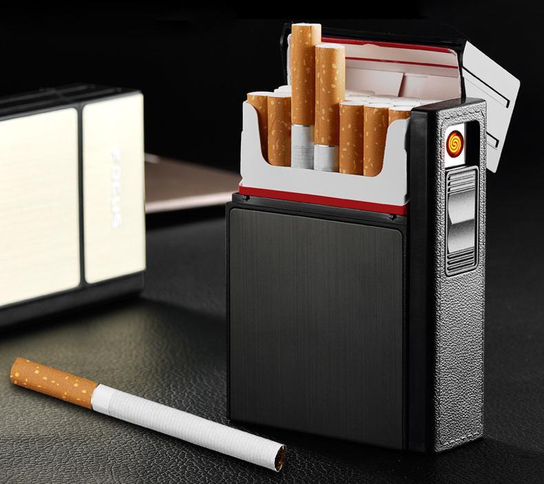 Portátil novo carregamento usb isqueiro 20 cigarros caixa caso mais leve negócios presente dos homens isqueiro elétrico cigarro segurar 20 cigarros