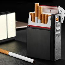 Portable New USB charging lighter 20 Cigarettes Box Case Lig