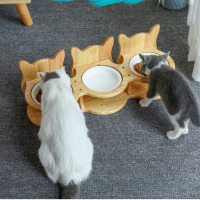 pet-stainless-steel-tableware-pet-feeding-and-drinking-bowls-with-bamboo-frame-dog-feeders-pet-supplies-cat-dining-table-cw209
