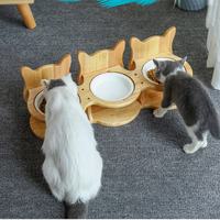 Pet Stainless Steel tableware Pet Feeding and Drinking Bowls with Bamboo Frame Dog Feeders Pet Supplies Cat Dining Table CW209