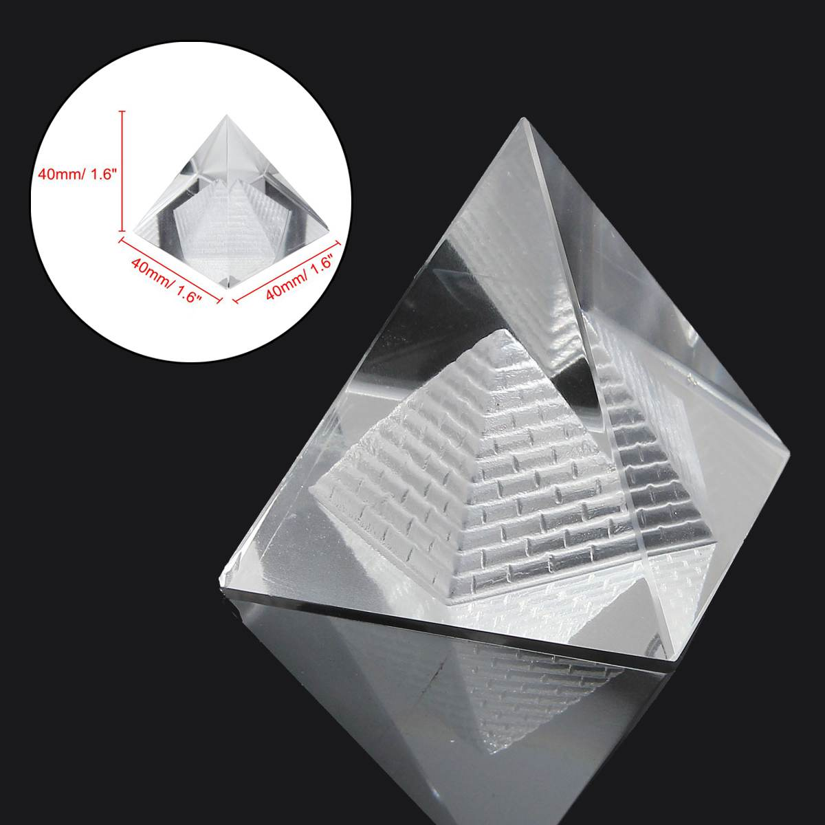 3D Egypt Shape Crystal Pyramid Clear Stone Home Desk Display Decor Healing Gifts