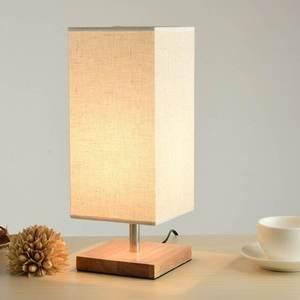Image 2 - Lampe de bureau en tissu au Design moderne, éclairage de chevet, Base en bois, pour chambre à coucher, salon, bibliothèque des étudiants E27 220V