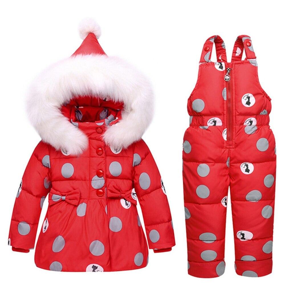 4 цвета, детский зимний комбинезон, пальто, теплый зимний комбинезон на утином пуху, Зимний Детский костюм, куртка с капюшоном в горошек с бан...