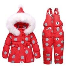 4 цвета, детский зимний комбинезон, пальто, теплый зимний комбинезон на утином пуху, Зимний Детский костюм, куртка с капюшоном в горошек с бантом и комбинезон, комплект