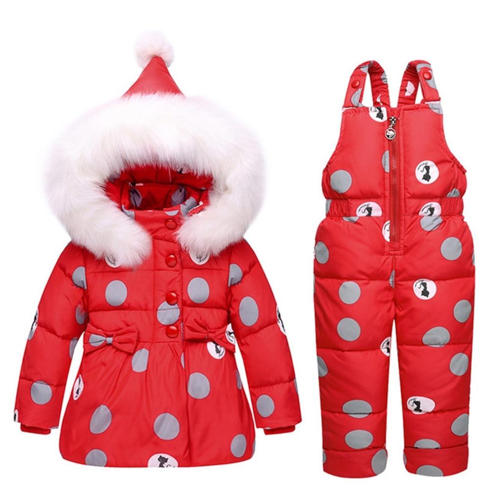 4 cores Bebê Macacão Casaco de Inverno Snowsuit Quente Duck Down Inverno Terno Do Bebê Bowknot Polka Dot Hoodies Jaqueta e Macacão conjunto