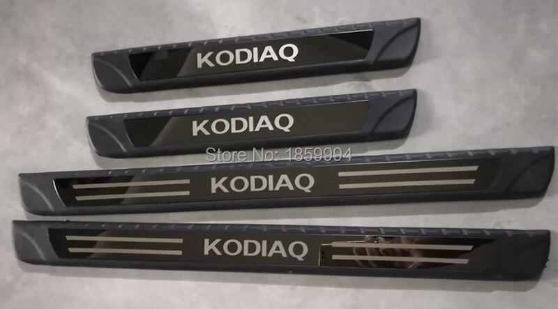 Para 2017 2018 2019 skoda kodiaq exterior do carro placa de chinelo guarnição soleira da porta pedal bem-vindo
