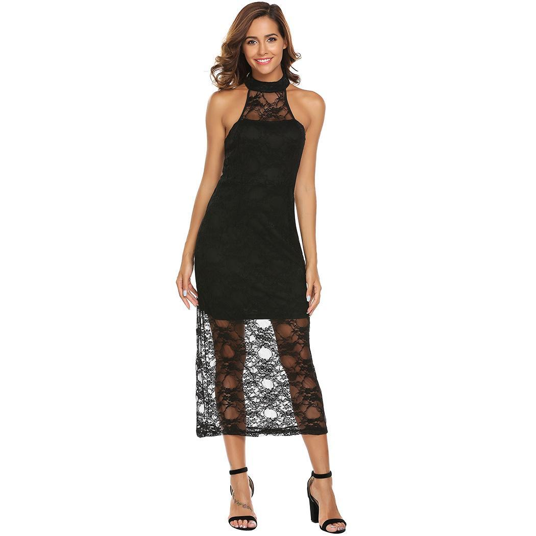 AL'OFA Women Long Lace Bodycon   Cocktail     Dress   Halter Sleeveless Keyhole Floral   Cocktail   Party   Dress   Female Clothes