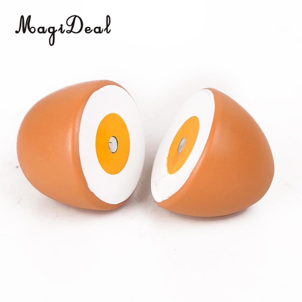 MagiDeal Simulation 1Pc Wooden Magnetic Connected Egg Kids Kitchen Cutting Food Pretend Role Play Game Toy 6cm