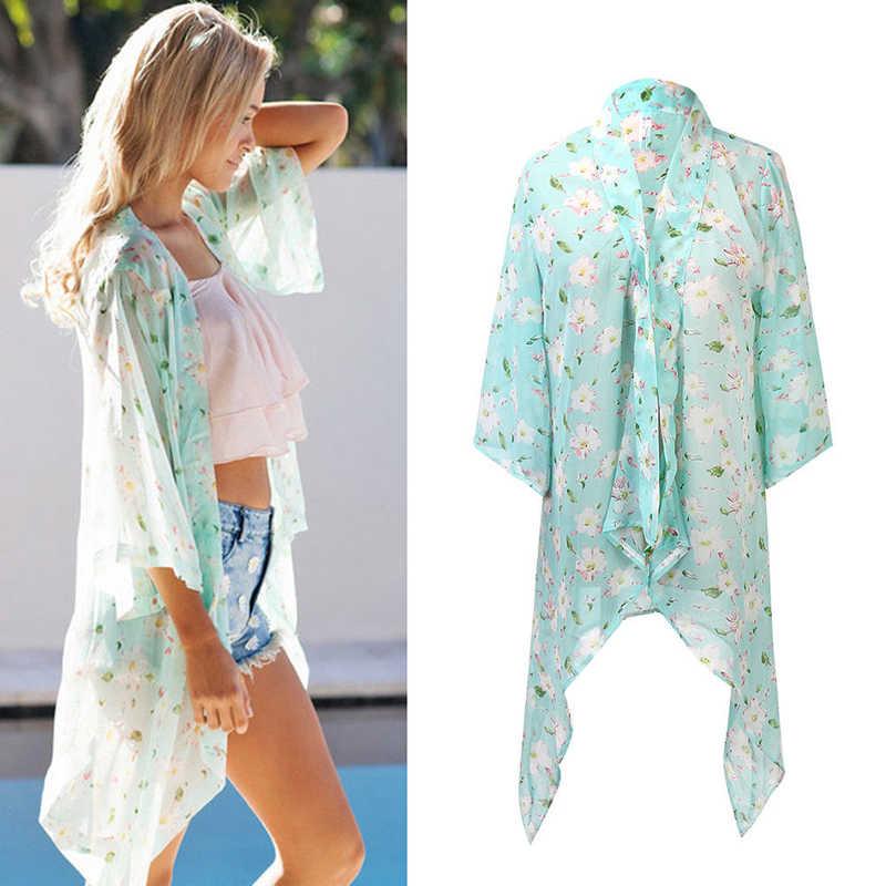 e2a62a63a4 ... Women Boho Summer Floral Beach Cover Up Chiffon Silky Big Shawl Scarf  Bikini Cover Up Playa ...