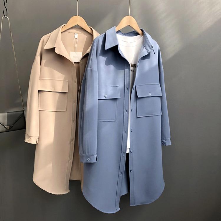 Khaki Long Women Straight   Trench   Coat Poacket Long Sleeve Streetwear Blue Outwear Coat for Spring