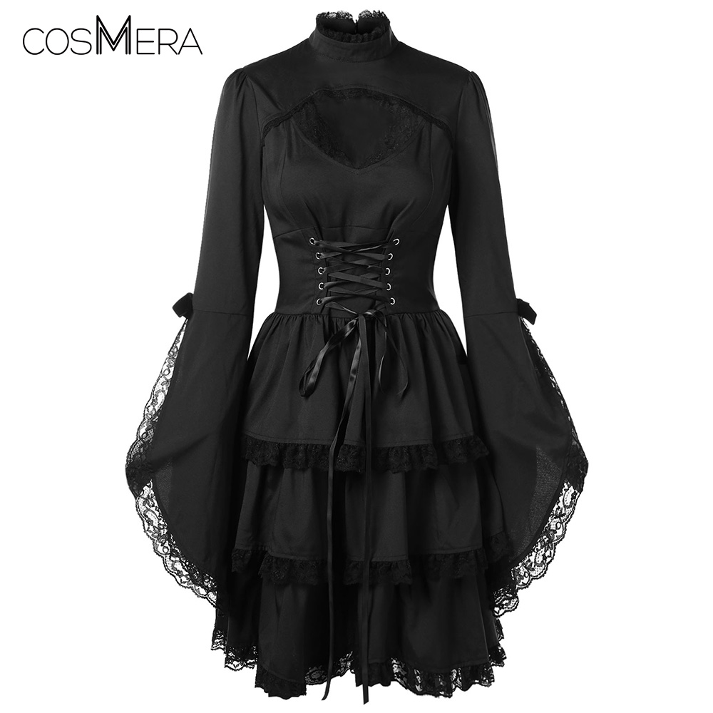 b3072170ab8 CosMera Gothic Dress Flare Sleeve Cut Out Lace Trim Stand Collar Long Sleeve  Black Lace Dress