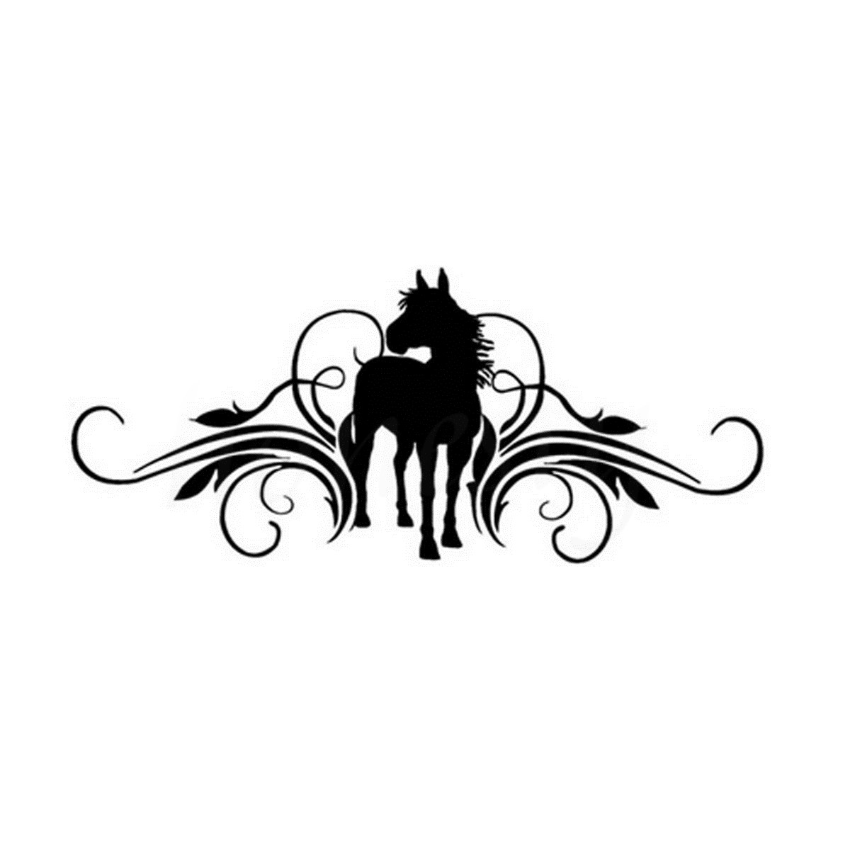 Scrolling And Horse Vinyl Car Sticker Wall Home Glass