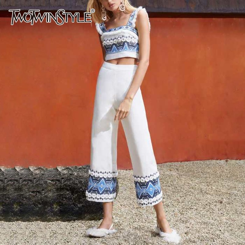 TWOTWINSTYLE Off Shoulder Embroidery Women Two Piece Set Strap Short Tops Loose Wide Leg Pants Print Suit Female Fashion 2019-in Women's Sets from Women's Clothing    1