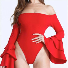 muxu red sexy off shoulder bodysuit ruffle long sleeve cotton backless body rompers