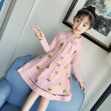2018 New Pattern Baby Girl Dress Autumn Korean Pineapple Clothing Children Yarn Princess Kids Girls Children's Garment children s garment autumn new pattern cool girls child collision rotator cuff lace motion wind pure 2 pieces kids clothing sets