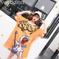 Vefadisa Cartoon Printing Dress Women Orange O Neck Dress Short Sleeve Knee Length Dress T Shirt with Invisible Pockets ZLD753