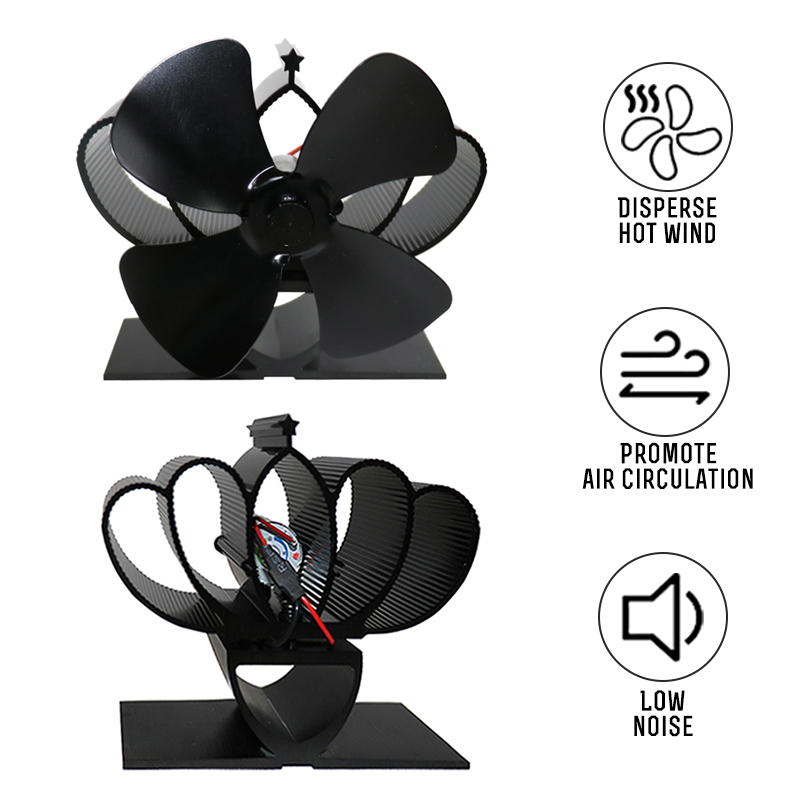 Mini Multi Color 4 Blades Stove Fan Heat Powered Komin Wood Burner Eco Fan Silent Home Efficient Heat Distribution Fireplace Fan