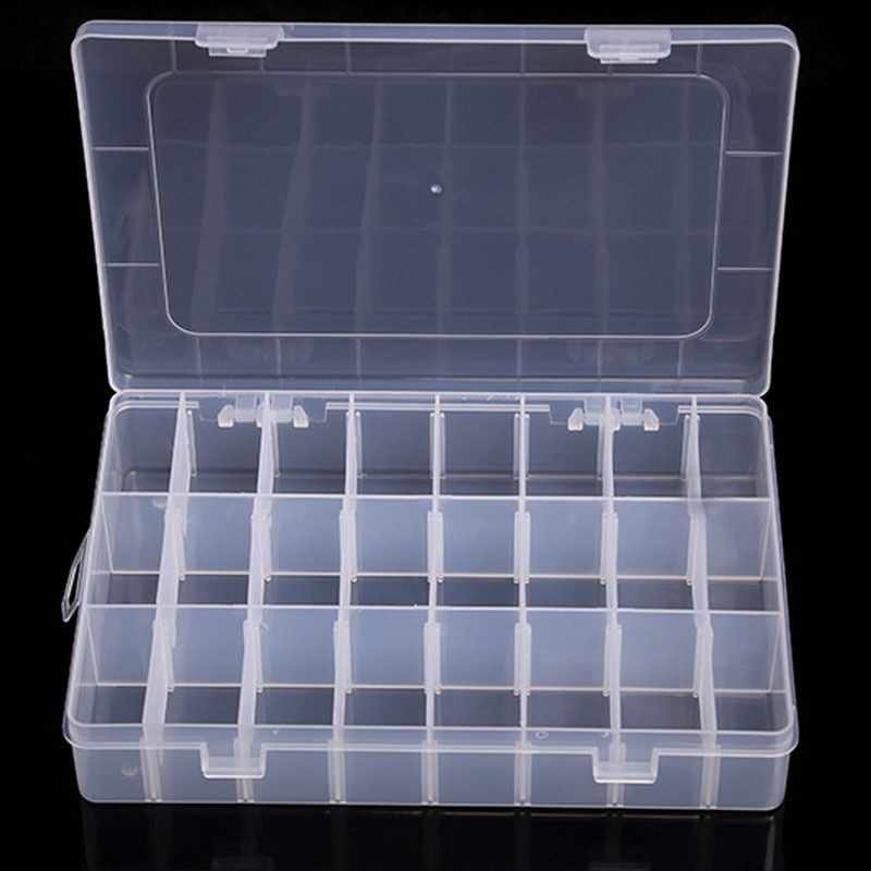 Portable 10/15/24/36 Grids Adjustable Plastic Jewelry Beads Pills Nail Tips Storage Box Case Container Home Supplies