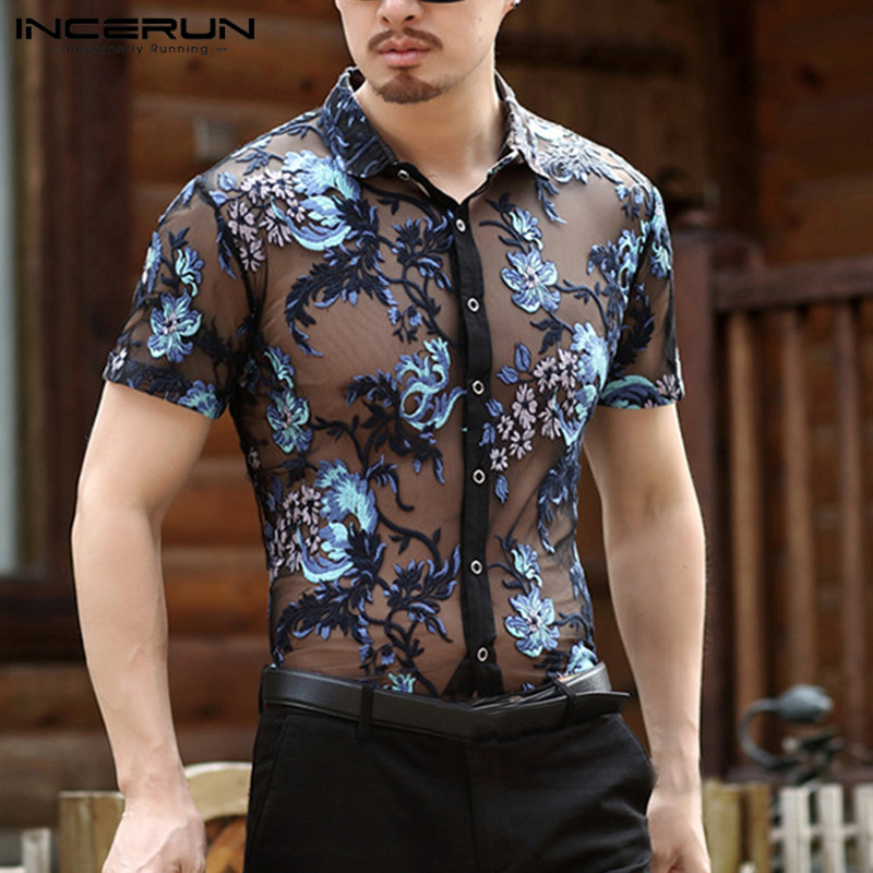 INCERUN Fashion Men's Shirt Short Sleeve Flower Embroidered Mesh Sexy Shirt Men See Through Slim Fit Transparent Lace Shirt Tops