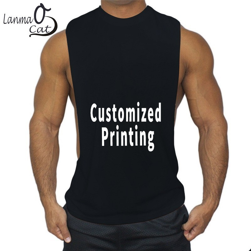 Lanmaocat Bodybuilding Clothes For Men Loose Fitness   Tank     Top   Customized Printing Open Side Sports Vest Gym   Top   Free Shipping